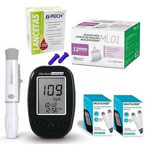 Kit Completo Glicemia Glucosure 110 Tiras 100 Agulhas 12mm