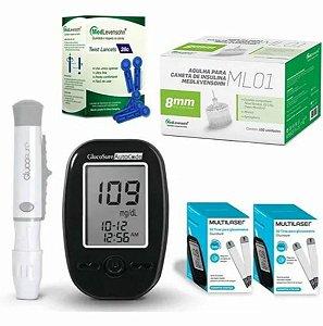 Kit Completo Glicemia Glucosure 110 Tiras 100 Agulhas 8mm - Medlevensohn
