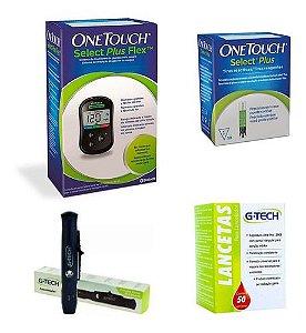 Kit glicemia Onetouch Select Plus Flex + 50 tiras e lancetas