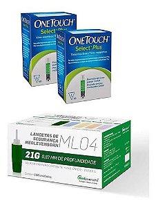 100 Tiras One Touch Select Plus + 100 Auto Lancetas 21g