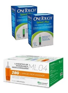 100 Tiras One Touch Select Plus + 100 Auto Lancetas 28g