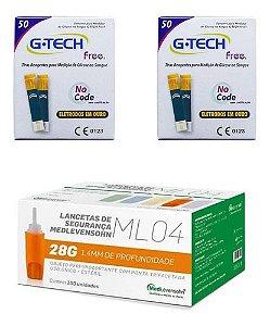 100 Tiras Reagentes G-tech Free1 + 100 Auto Lancetas 28g