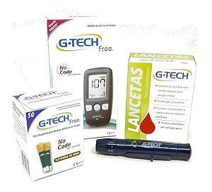 Kit Aparelho De Glicose Diabetes G-tech Free1 + 50 Tiras