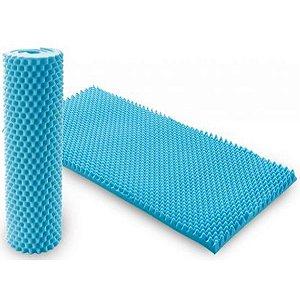 Colchão Caixa de Ovo Anti Escaras Solteiro Azul - Dilepe