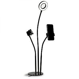 Ring Light USB e Suporte de Mesa para Smartphone e Microfone(MFVS-RLSM/BK)