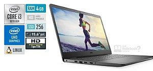 "Notebook Dell Inspiron i3501-U25P Intel Core i3-1005G1 4GB SSD 256GB 15.6"" HD 10ª Ger. Linux Preto"