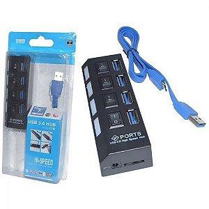 HUB USB 3.0 4 PORTAS PORTATIL PRETO COM CHAVE UH401 IMPORTADO