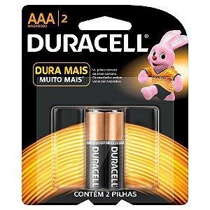 Pilha Alcalina Duracell AAA Blister com 2 Un.