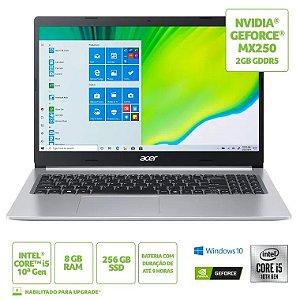 NOTEBOOK ACER  A515-54G-53GP,  CI510210U, 8GB, 256GB SSD, NVIDIA 2GB, W10HSL64, SILVER, LED 15.6