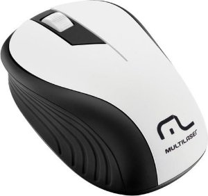 MOUSE SEM FIO 2.4GHZ PRETO E BRANCO USB 1200DPI PLUG AND PLAY MO216 - MULTILAZER