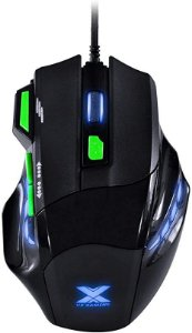 MOUSE VX GAMING BLACK WIDOW 2400 DPI AJUSTAVEL E 06 BOTÕES PRETO COM VERDE USB - GM106 - VINIK