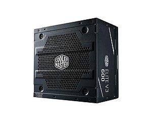 Fonte Atx Cooler Master 600w Elite V3  Pfc Ativo - MPW-6001-ACAAN1