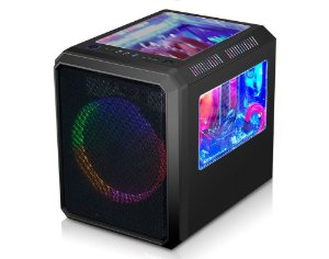 Gabinete Gamer k-mex CG-03RC Microcraft III Preto Cubo Frontal 1 Fan 200mm Led Multicolors USB 3.0/2.0 S/Fonte