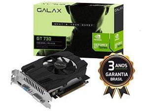 GEFORCE GALAX GT 730 4GB DDR3 64BIT 10640MHZ DVI HDMI VGA - 73GQS4HX00WG