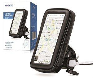 SUPORTE CELULAR E GPS ATE 5,5 POLEGADAS CASE P/ MOTO C/ CARREGADOR GUIDAO EXBOM
