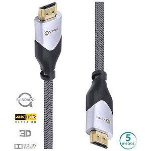 CABO HDMI 2.0 4K ULTRA HD 3D CONEXÃO ETHERNET BLINDADO EM NYLON 5 METROS - H20B-5 - VINIK