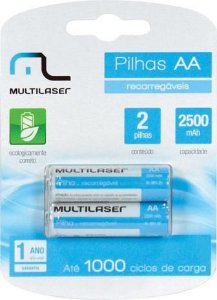 PILHA RECARREGAVEL AA 2500MAH CB053 - BLISTER COM 2 - MULTILASER (CST 200)