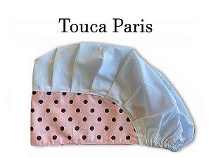 Touca Paris - Poá Rosa Bebê Cabeça Branca - Uniblu