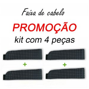 P R O M O Ç Ã O:  kit com  4 Faixas de Cabelo - Poá Preto nº1 - Uniblu