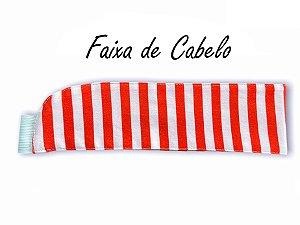 Faixa de Cabelo Sarja Listras Vermelhas - Uniblu