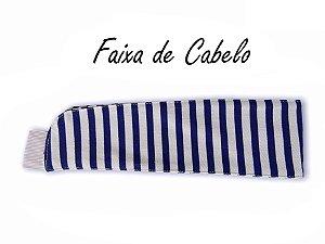 Faixa de Cabelo Sarja Listras Azul Marinho - Uniblu
