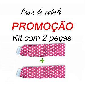P R O M O Ç Ã O:  kit com 2 Faixas de Cabelo - Poá Pink - Uniblu