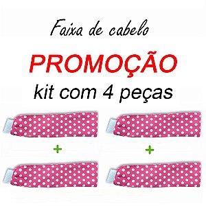 P R O M O Ç Ã O:  kit com 4 Faixas de Cabelo - Poá Pink - Uniblu