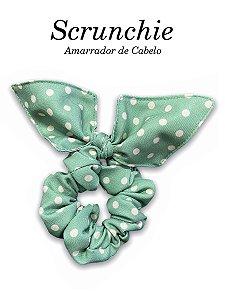 Scrunchie - Amarrador de cabelo Poá Verde Musgo