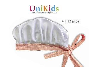 Touca Unikids - Branca Detalhes Poá Rosa claro- Uniblu