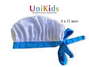 Touca Unikids - Branca Detalhes Poá azul - Uniblu