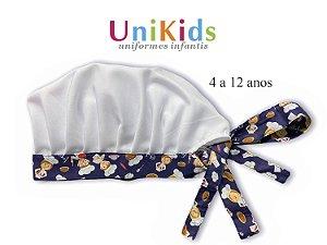 Touca Unikids - Branca  com Detalhes em Chefinho Marinho- Uniblu