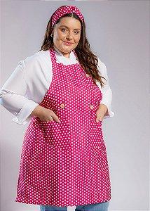 Avental Plus Size - Modelo Roma Poá Pink - Uniblu