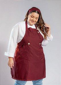Avental Plus Size - Modelo Roma Gabardine Bordô - Uniblu