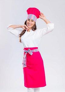 Avental Cintura Meia Saia - Corpo Pink com Detalhes em Listras Coloridas - Uniblu
