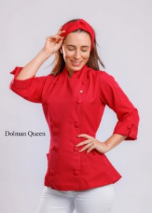 Camisa Feminina Chefe Cozinha - Dolman Queen Vermelho Espinela - Botões Forrados - Uniblu