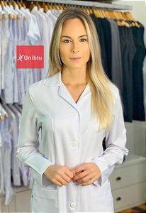 "Jaleco Feminino Slim - Gola Tradicional ""Oxford Inovatore "" Uniblu"