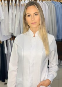 "Jaleco feminino Imperatriz Slim - Gola Padre ""Microfibra Italiana Branca "" Uniblu"