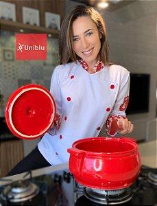 Camisa Feminina Chefe Cozinha - Dólman Stilus - Detalhes Chefinho Vermelho - Uniblu