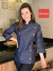 Camisa Feminina Chefe Cozinha - Dolman Stilus Jeans - Uniblu