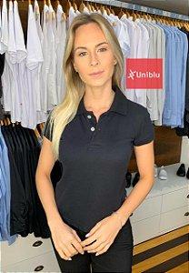 Camisa Polo Feminina Cor- Preta - Uniblu