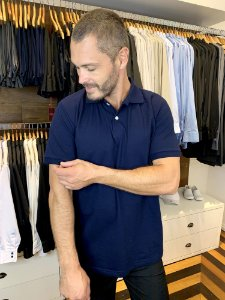 Camisa Polo Masculina Azul Marinho - Uniblu