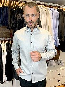Camisa Social Masculina -  Confort Plus Cinza - Uniblu