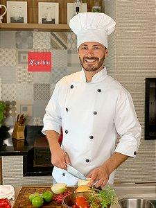 Camisa chefe Cozinha - Dolmãn Stilus Gabardine Italiano cor- Branca - Botões Pretos - Uniblu