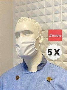 Kit com 5 Mascaras, Tecido Duplo Algodão - Uniblu
