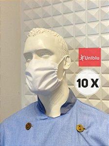 Kit com 10 Mascaras, Tecido Duplo Algodão - Uniblu