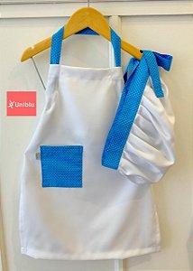 Conjunto - Avental + Gorro Infantil Unikids - Poá Azul - Uniblu