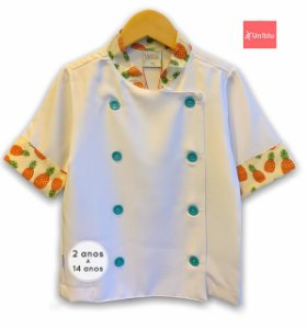 Camisa Chefe Infantil - Dolman Infantil - Estampa Abacaxi  - Unikids