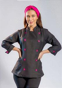 Camisa Feminina Chefe Cozinha - Dolman Stilus - Gabardine Italiano Cor- Preta Com Botões Pink- Uniblu