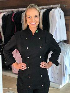 Camisa Feminina Chef Cozinha - Dolman Stilus - Gabardine Italiana Cor- Preta Botões Pressão cromados - Uniblu