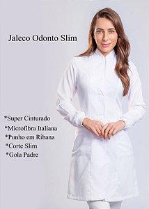 "Jaleco Feminino Odonto Slim - Gola Padre ""Microfibra Italiana "" Uniblu"